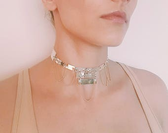 Faux Leather Light Gold Chain Choker
