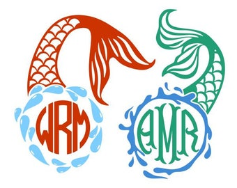 Mermaid Monogram Frame Cuttable Design SVG PNG DXF & eps Designs Cameo File Silhouette