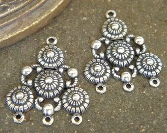 Lot 2 3 rows Etruscan Byzantine style Chandeliers ideal Creation earrings metal silver jewelry vintage