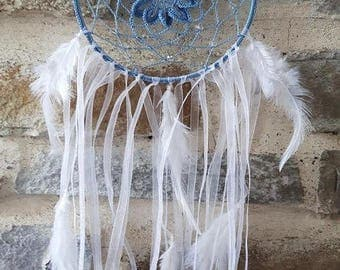 Large dream catcher blue crochet and pearls transparent and white feathers