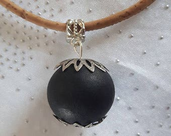 Cork, black wooden ball pendant necklace