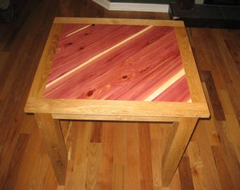 Reclaimed Oak Table/Desk with Cedar Inlay