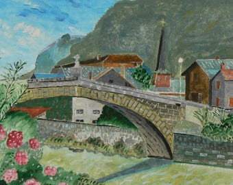 Saint Martn village and bridge Arve; watercolor painting