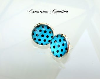 """Earrings """"chips"""" 12 mm stainless steel with black polka dots on turquoise background"""