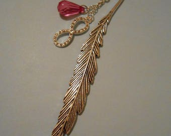 Feather bookmark with pink charm