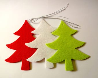 3 felt - embellishments - Christmas tree ornaments of Christmas trees
