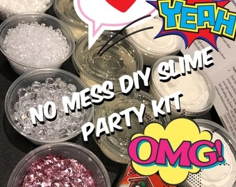 Slime Kit | Mess-Free DIY Slime Party Kit w Ready Made Slimes |  6 x 2oz Clear/Fluffy Slimes | Makes 6 - 10 slimes