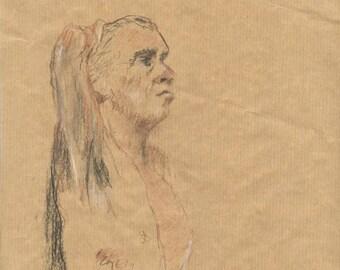 Drawing original man naked thinker sitting on kraft paper