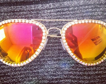 Rhinestone AVIATOR reflective sunglasses, Playa Princess, Aviator Sunglasses