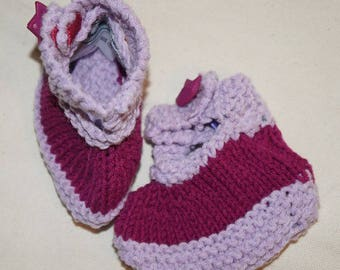 NinnaNannaMaille-slippers for girl size 3-6 months-birth gift-baby slippers-handknit slippers for baby girl