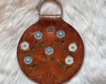 Vintage Leather Flowered Brown Keychain