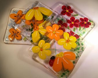 Flower fused glass coasters