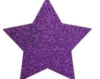 10 X 9.5 cm purple glittery star fusible pattern
