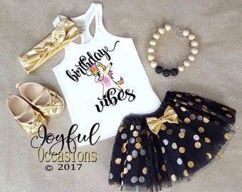Girls Birthday Outfits - Black Gold Unicorn Dab Birthday Vibes Glitter 1st 2nd 3rd 4th 5th 6th 7th 8th Birthday Tutu Set For Baby Girls