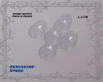5 transparent glass cabochon 14 mm