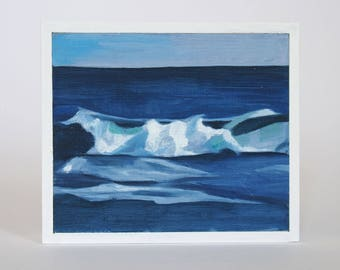 Mini Oil Painting Wave Landscape 3.5in x 4in