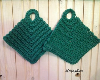 Green crocheted cotton potholders