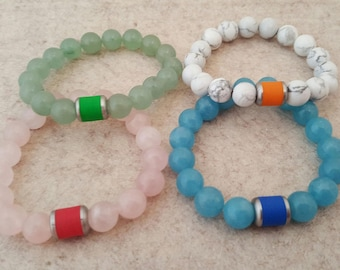 Precious stone bracelets with handmade stainless steel bead