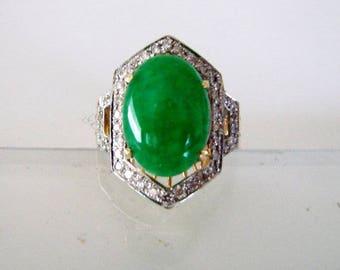 Natural Diamond- Jadeite Jade Ring 4.72Ct 18k Y/g