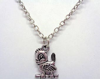 Handmade Gift Ideas Antique Silver Plated Bird Charm Necklace