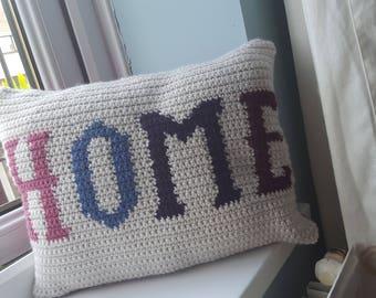 Crochet 'HOME' cushion
