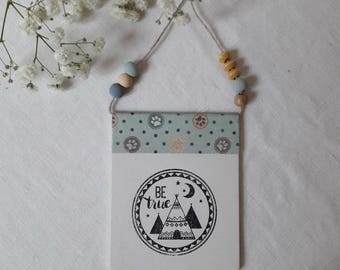 Banner in wood, thick paper insert, teepees, wooden beads