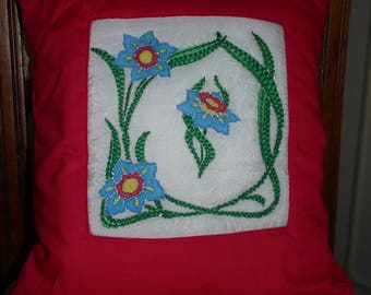 Silk painted embroidered cushion