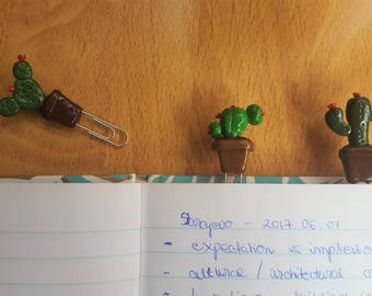 Cactus paper clips from polymer clay