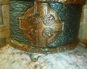 Celtic leather look wrist cuff