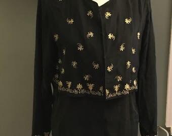 Diane Von Furstenberg Gold Black Embroidered Silk Blouse