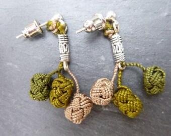BOGP 01 green and purple cluster earrings