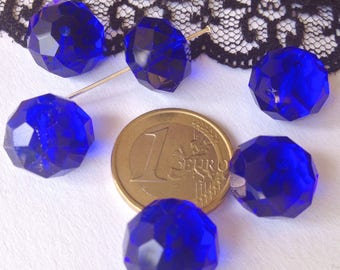 Crystal SWAROVSKI RONDELLE beads large Nacklace with 14 x 10 mm blue (N56)