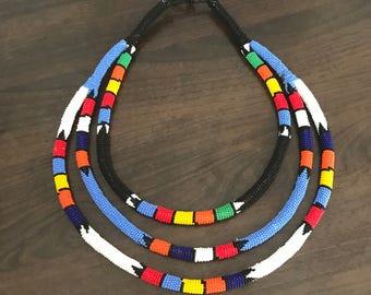 Zulu beaded tri-necklace