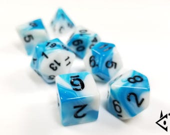 """Polyhedral Dice Set Blue White """"Yeti's Hunt"""" D&D Dice, DnD dice, Polyhedral dice, Critical, Dungeons and Dragons, Pathfinder, Cerulean Pearl"""