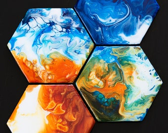 Fire and Ice Coaster Set 2- set of four handmade original blue and orange abstract fluid art resin coasters