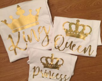King Queen Princess Prince Shirt White Gold Family Royal Crown Couples