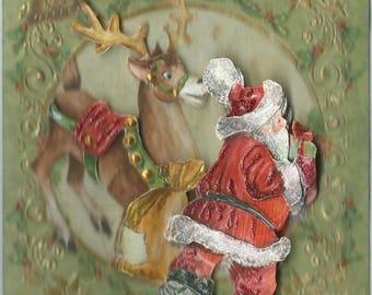 Santa Claus with reindeer Christmas card