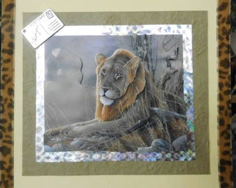 """card 3D """"the rest of the lion, King of the Savannah"""""""