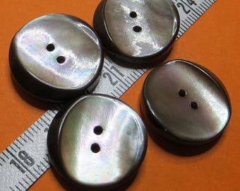 2.1 cm grey Pearly buttons (4) - #6312_21