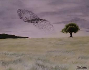 Starlings (9 x 12) - Watercolour/mixed media