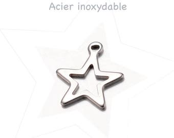 Set of 4 star stainless steel, 15 x 13 mm, thickness 1 mm, hole 1 mm