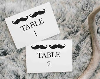 "Wedding Table Number 1-40, 7""x5"", Printable Art, Instant Download, Moustache, digital print"