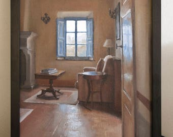 Original oil painting on canvas panel, artwork of room in Italy, Old world interior art, sitting room and window painted