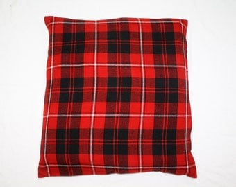 Vintage 80s Japanese Cushion Cover Pillow Case Red Black Check Pattern Size 21.50x23.50