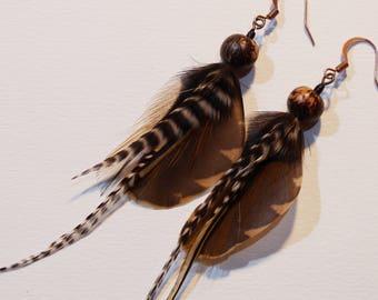 Woodcock feather earrings!