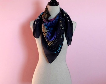 Black silk scarf painted by hand