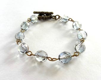 Light grey baroque Crystal bracelet - metal bronze