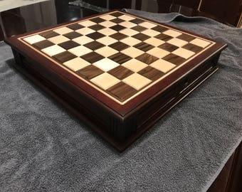 Cherry Coffee Table Chess Set w/ Drawer Storage