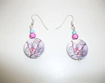 Earring ceramics, beads and butterfly.