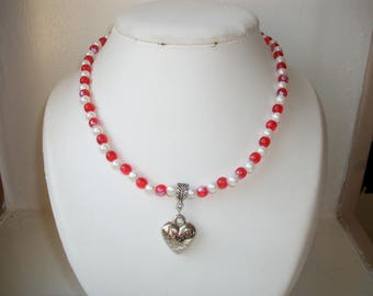 Heart Necklace, red and white Valentine's day or mother's day.